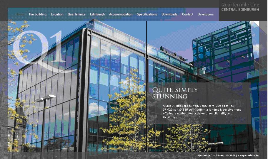 Quartermile One in Edinburgh uses a website to promote the site