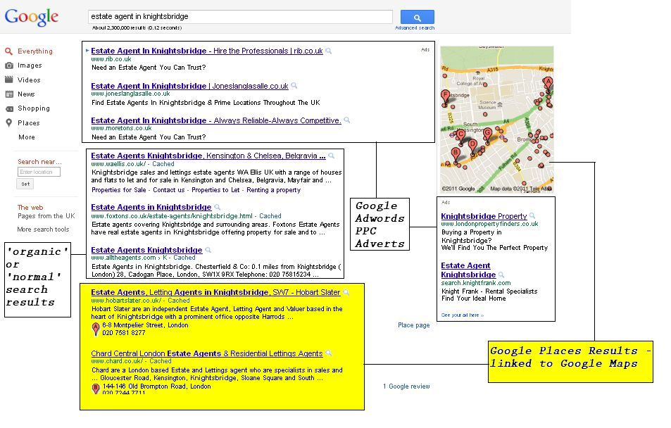 Google positions business listings for google places high in search results